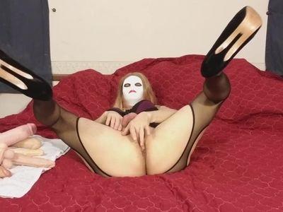 Fucking my ass with dildo crossdresser