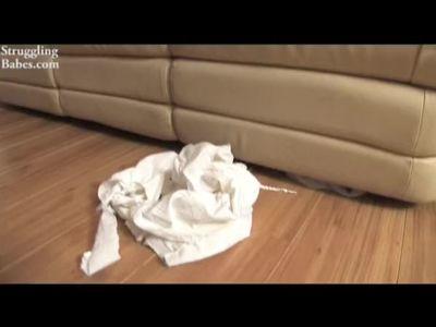 Amy hogtied in white socks